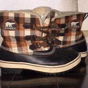 Sorel plaid waterproof snow boots